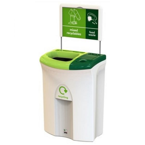 Meridian Recycling Bin with Open & Lift Up Apertures - 110 Litre Techni-Pros - techni-pros