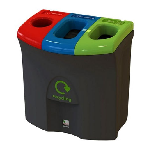 Mini Meridian Recycling Bin with Triple Apertures - 87 Litre Techni-Pros - techni-pros