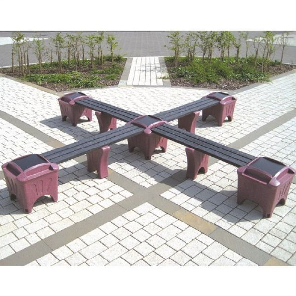 Modular Seating - Cross Shaped Bench Techni-Pros - techni-pros