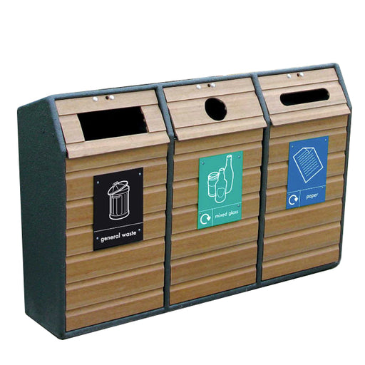 Timber Fronted Triple Recycling Unit - 294 Litre Techni Pros