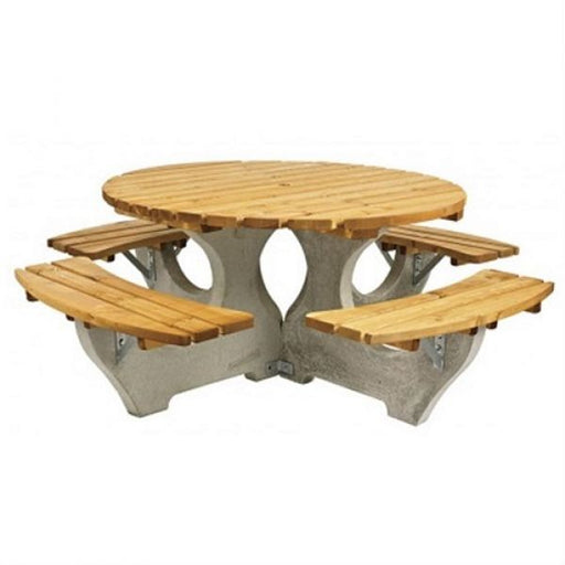 Concrete and Timber Round Picnic Table Techni-Pros - techni-pros