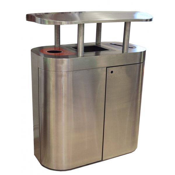 Torpedo Triple External Recycling Bin with Orbit Hood - 270 Litre Techni-Pros - techni-pros