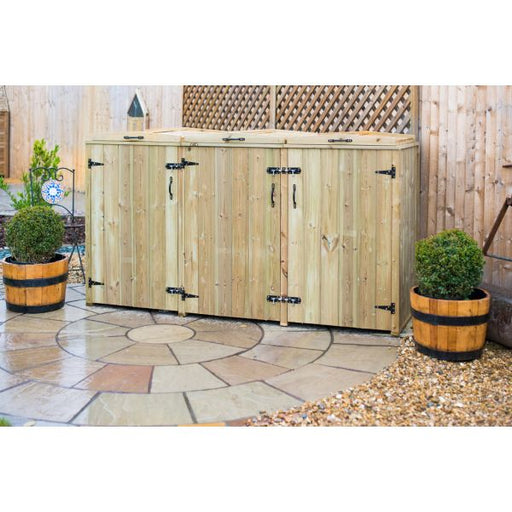 Timber Triple Chest Wheelie Bin Store Techni-Pros - techni-pros