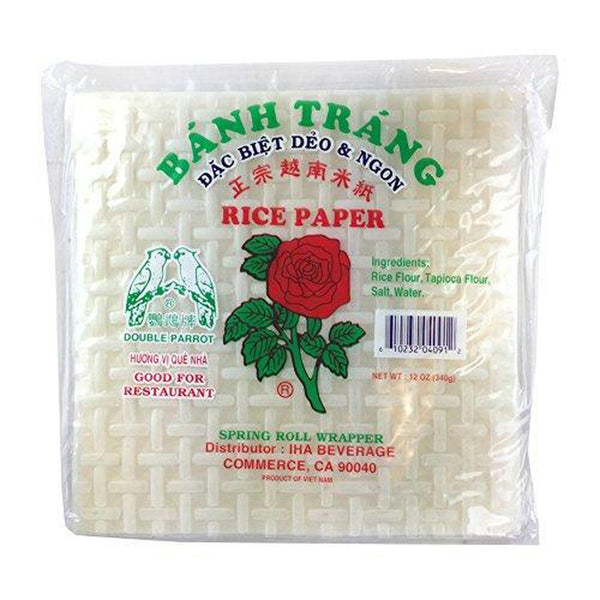 12 Ounce Red Rose Banh Trang Spring Rolls Paper Wrapper Roll Rice Paper Square Shape 22 Centimeters-Soyum Foods