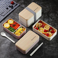 Microwave Double Layer Lunch Box Wooden Feeling-Soyum Foods