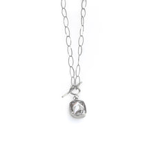 Load image into Gallery viewer, Silver, oval loop, chain necklace, with a white colored, emerald cut, zirgon stone