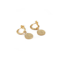 Load image into Gallery viewer, Phaistos small gold hoop coin earrings by 3rd Floor Handmade Jewellery