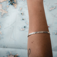 Load image into Gallery viewer, womans arm, with coordinates bracelet memories,silver