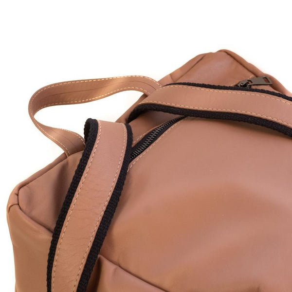 Detailed  photo of the upper back side of a backpack