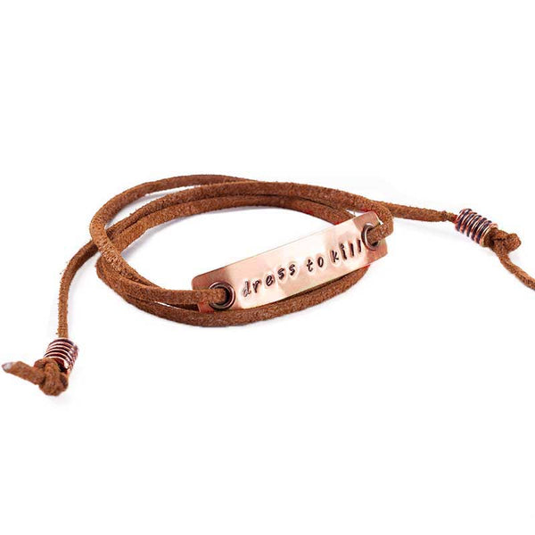 Handmade Leather Cord Wristlet