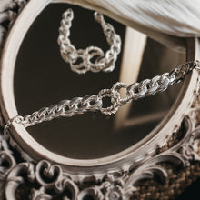 Load image into Gallery viewer, Silver, curb link chain necklace, with a central, interlocking, rope chain