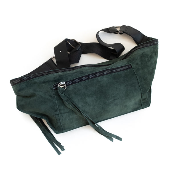 Bravado. Handmade, leather, fanny pack in evergreen color. By 3rd Floor handmade bags