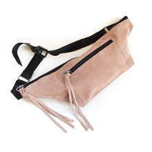 Load image into Gallery viewer, Bravado. Handmade, leather, fanny pack in sage pink. By 3rd Floor handmade bags