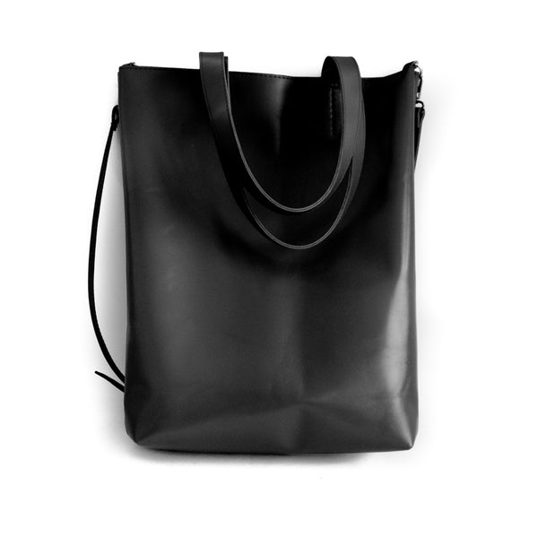 Madeleine. Handmade, black leather, bag. By 3rd Floor Handmade Bags