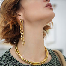 Load image into Gallery viewer, woman in green dress,wearing long handmade, chain gold earrings