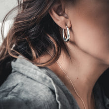 Load image into Gallery viewer, close-up model wearing diaz earrings-silver by 3rd-floor