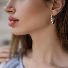 Load image into Gallery viewer, close-up woman's face wearing, diaz earrings-silver by 3rd-floor