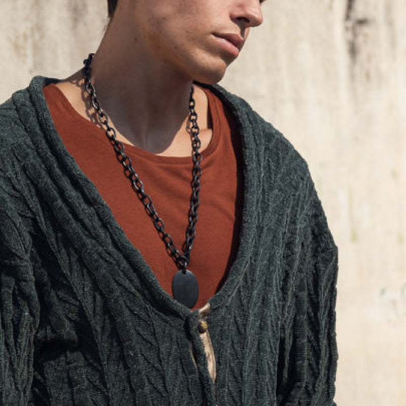 men with 3rd floor Handmade black Faron Necklace