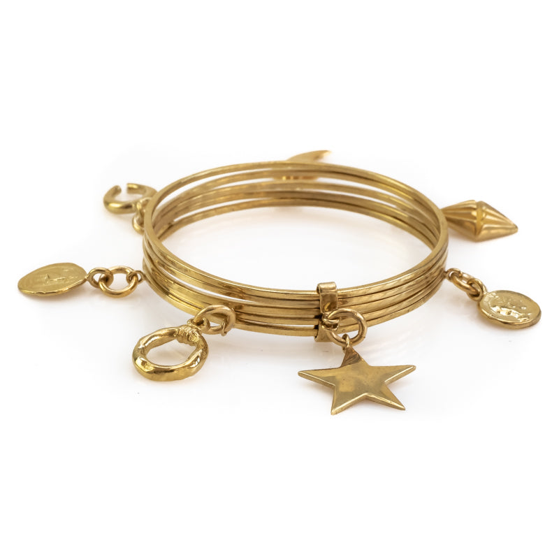Bibelot. Handmade, charm bracelet, in gold plated brass. By 3rd Floor Handmade Jewellery