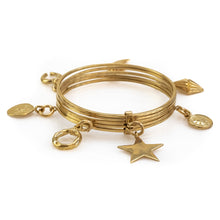 Load image into Gallery viewer, Bibelot. Handmade, charm bracelet, in gold plated brass. By 3rd Floor Handmade Jewellery