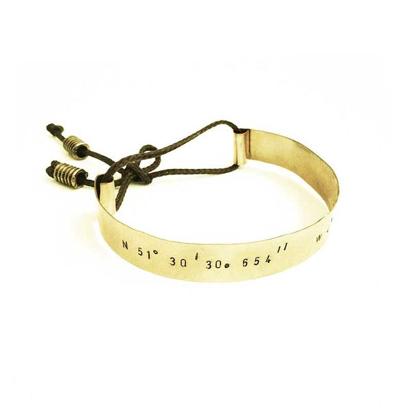Gold plated adjustable cord bracelet stamped with your choice of longitude and latitude coordinates