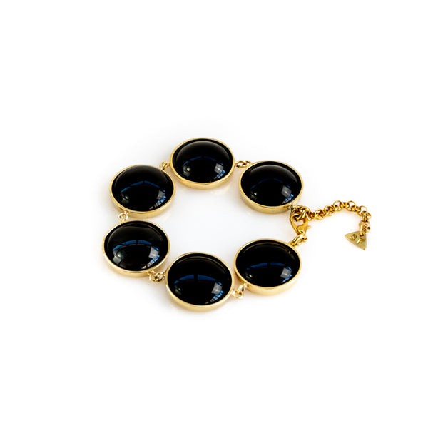 Hecate. Handmade, gold plated brass, and black onyx stone, bracelet