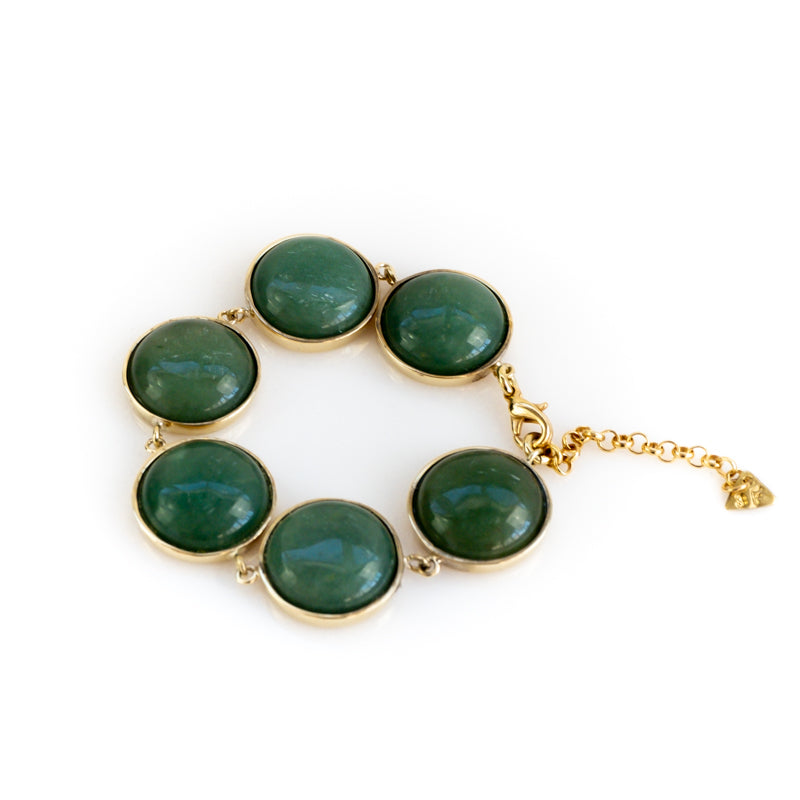 Hecate. Handmade, gold plated brass, and green aventurine stone, bracelet