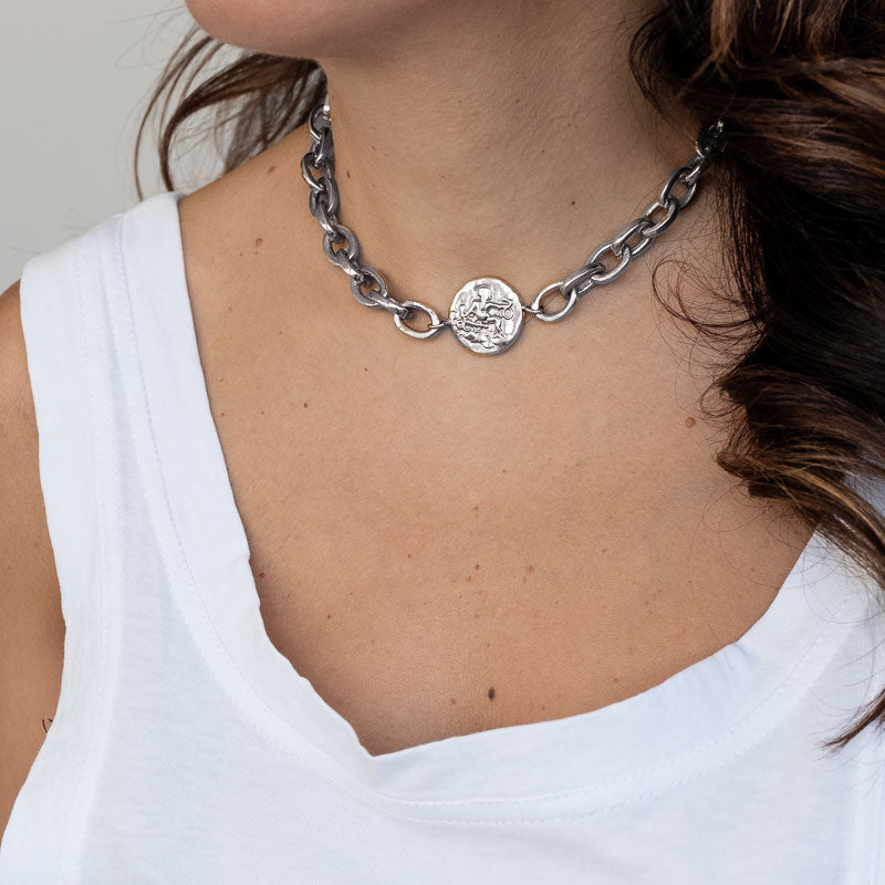 3rd Floor Handmade Jewellery Silver thick chain choker with a round charm portraying Hercules in the middle