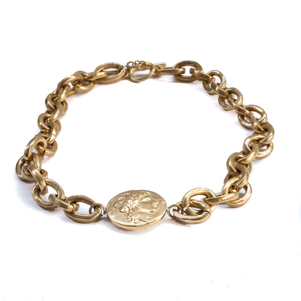 3rd Floor Handmade Jewellery Gold thick chain choker with a round charm portraying Hercules in the middle