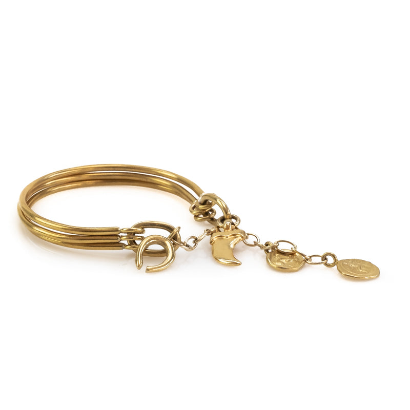 Lady Luck. Handmade, gold plated brass, bracelet by 3rd Floor Handmade Jewellery
