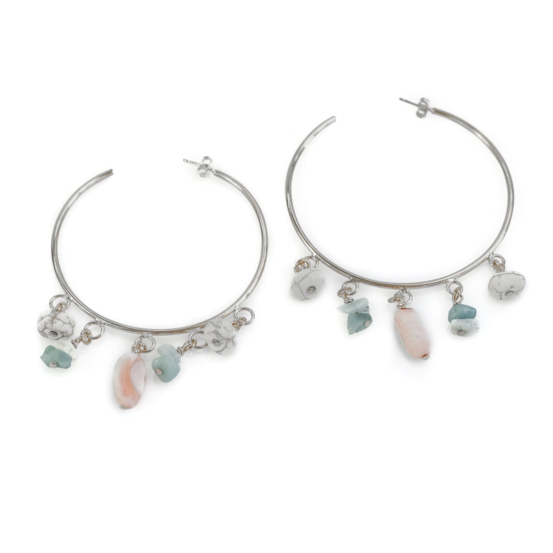 Lavinia. Silver, hoop earrings, with dangling, colorful stones. By 3rd Floor Handmade Jewellery