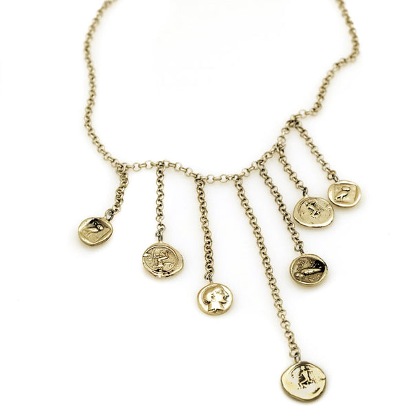 3rd Floor Handmade jewellery gold Obolos various length chains necklace with Greek coin replica charms