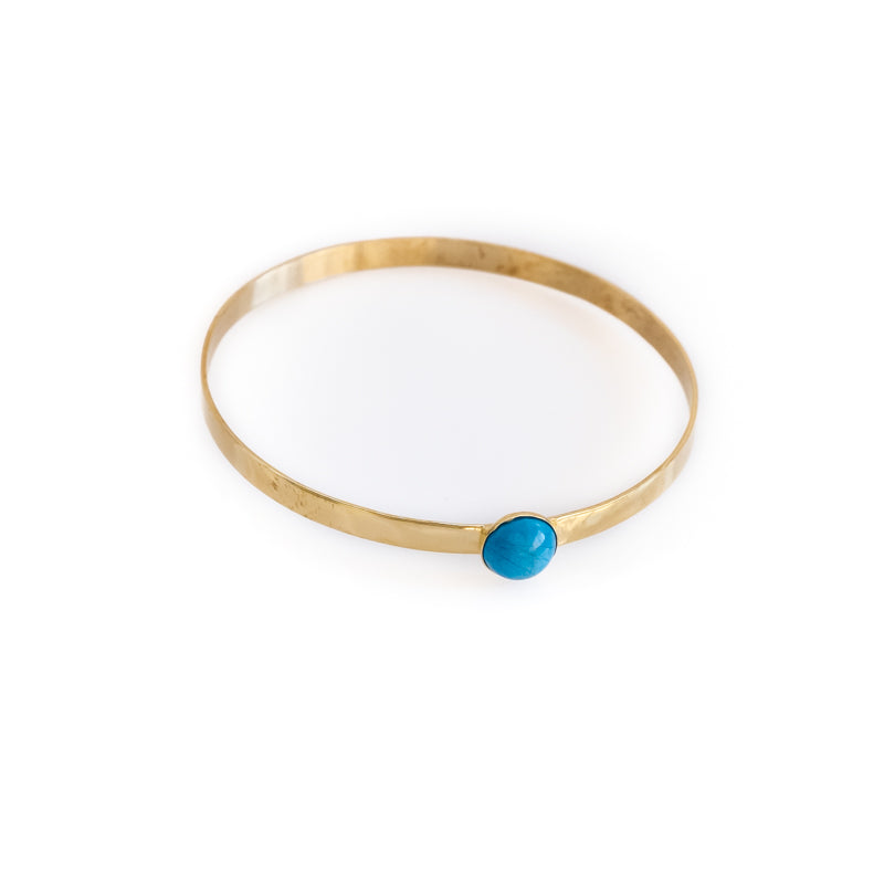 Odette. Gold, flat, bangle bracelet with a turquoise stone. By 3rd Floor Handmade Jewellery