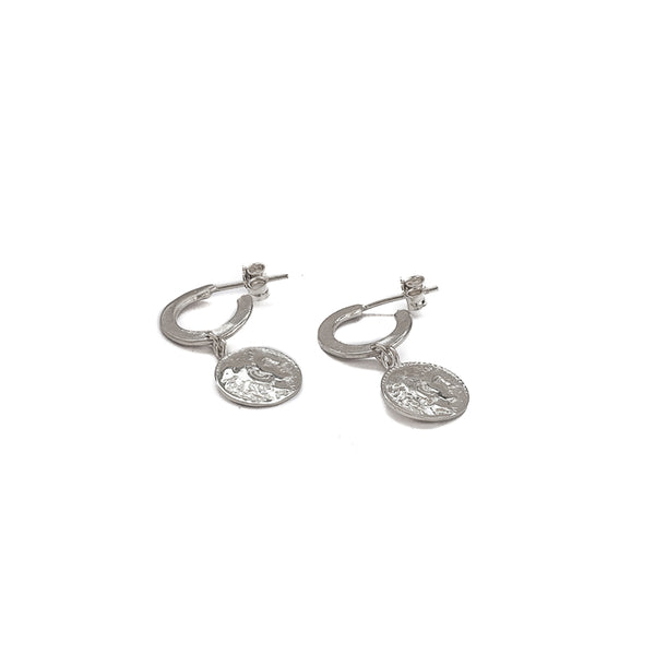 Phillip small silver hoop coin earrings by 3rd Floor Handmade Jewellery