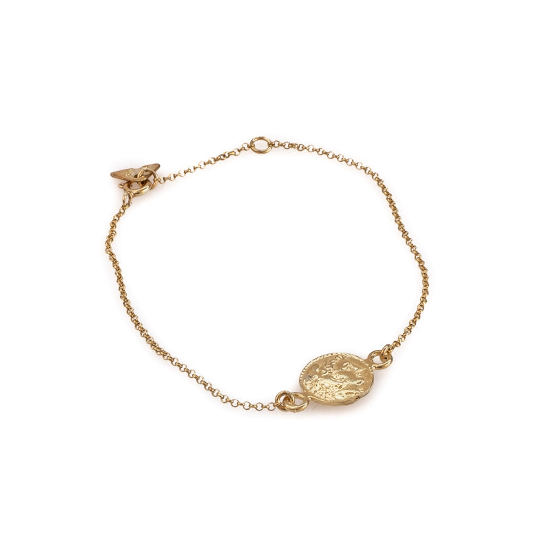 Phillip thin gold chain coin charm bracelet by 3rd Floor Handmade Jewellery