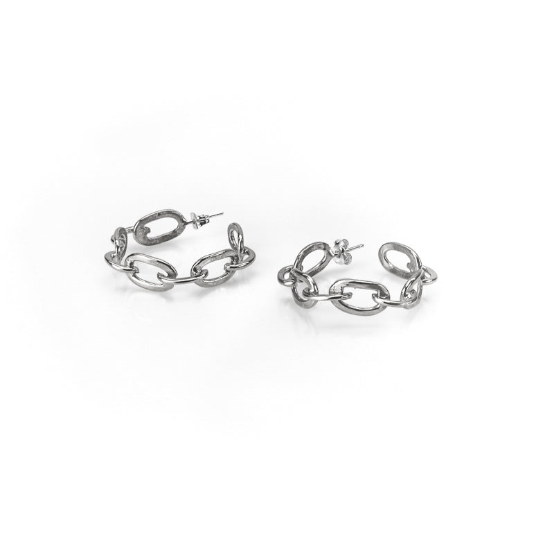 Riley silver plated small chain hoop earrings
