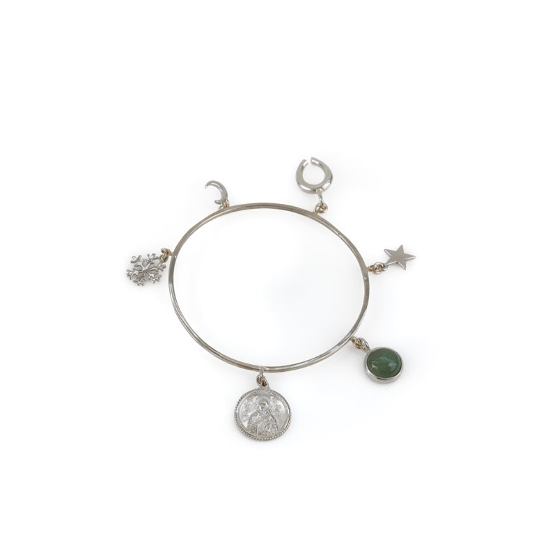 Santa Maria. Handmade, charm bracelet, in platinum plated brass. Discover it in 3rd Floors', Symbols Collection