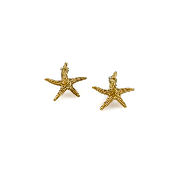 Small Starfish Earrings-Gold