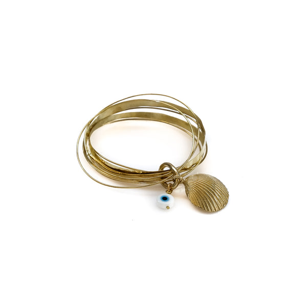 Thallo Shell. Gold plated brass, handmade bracelet