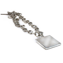 Load image into Gallery viewer, Long, silver, toggle link, chain necklace, with a big, solid, square element.
