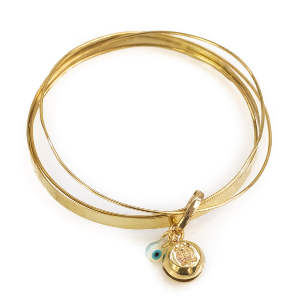 Turtle Luck. Handmade, gold plated silver, charm bracelet
