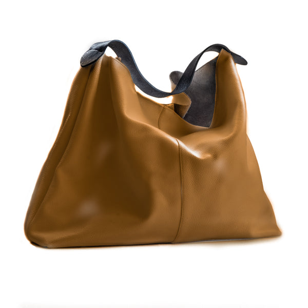Zanadu. Handmade, leather, camel brown with black leather straps, bag by 3rd Floor