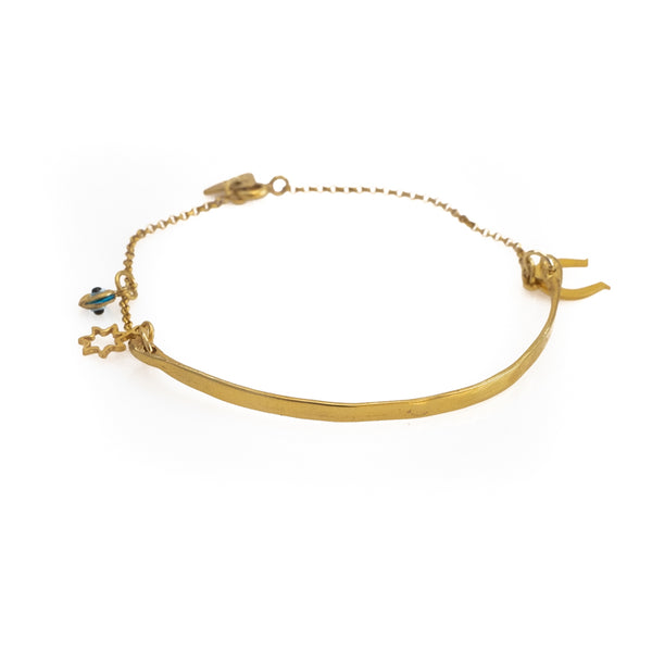 Eclipse. Gold plated silver, handmade, rod and chain bracelet by 3rd Floor