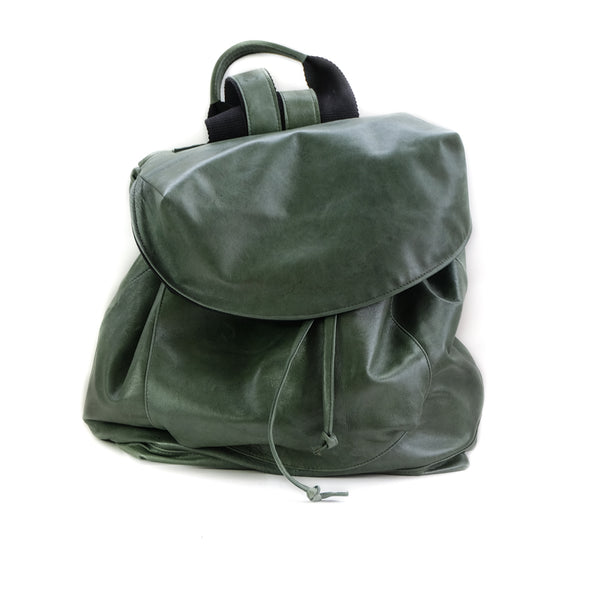 frond site of  back-bag kiara, leather green