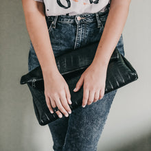 Load image into Gallery viewer, close-up woman with white shirt and black trouser,holding handmade leather-bag, croco-black.
