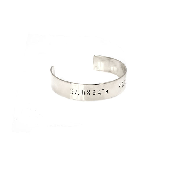 Adjustable silver plated coordinates stamped bracelet by 3rd Floor Handmade Jewellery