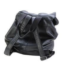 Load image into Gallery viewer, back site of leather back-pack-black made in  Greece