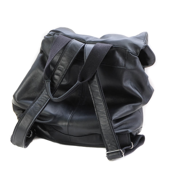 back site of leather back-pack-black made in  Greece