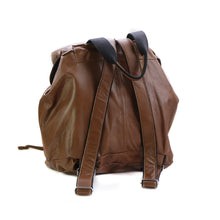 Load image into Gallery viewer, Back side photo of a brown, leather, greek handmade, back pack by 3rd Floor Handmade Jewellery