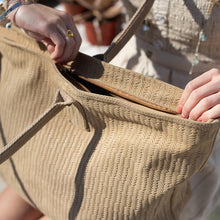 Load image into Gallery viewer, Close up photo of a big, beige, Galena beach bag